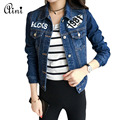 Fashion Print Jeans Jacket Women 2017 New Spring Autumn Long Sleeve Stretch Short Slim Denim Jacket Coat Plus Size S-XL