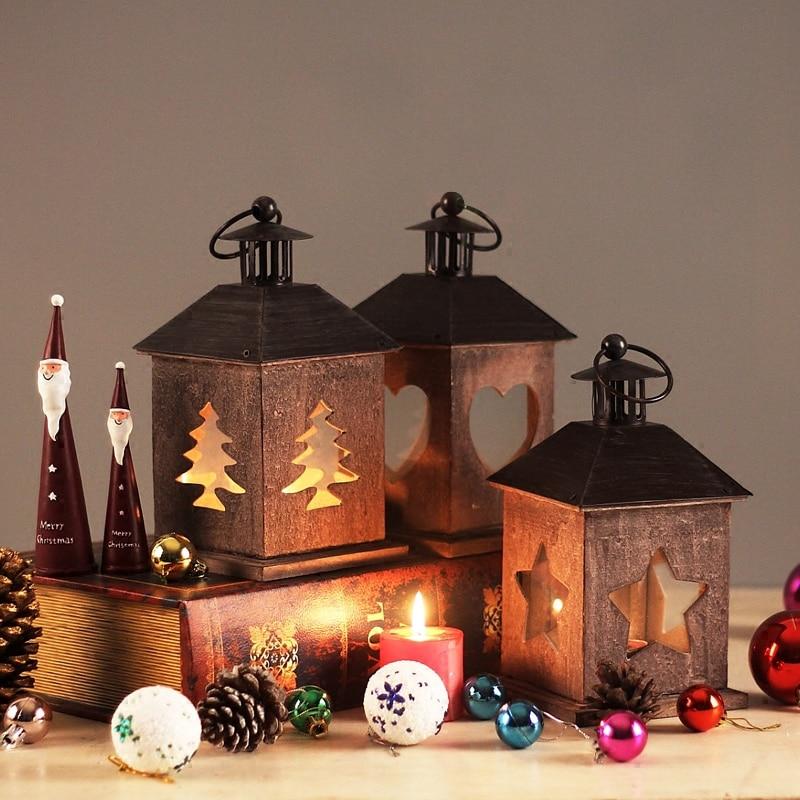 Bougie de noël Articles d'ameublement Table romantique décoration suspendue décoration de la maison bougeoirs en bois chandelier de fête