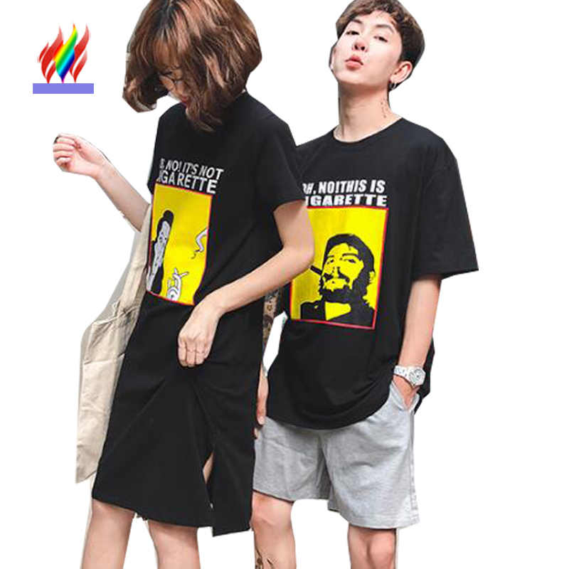 Matching Couple Clothes Lovers Preppy Style 2018 Summer Design Printed  Casual Black Cotton Cute Sweet Korea ec925da8bda6