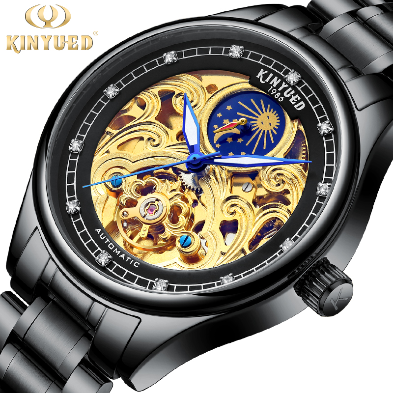 0a57567c78e KINYUED Steampunk Series Golden Skull Skeleton Clock Black Stainless Steel  Luminous Hands Men s Automatic Watch Top Brand Luxury