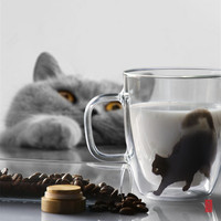 Double-layer glass coffee cup cat office drinkware