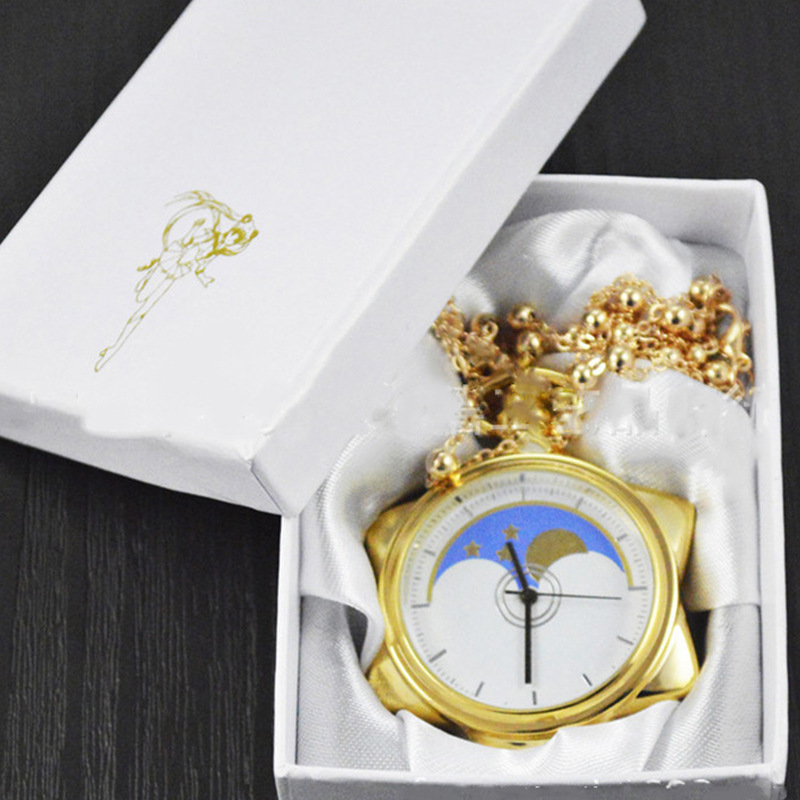 [TOOL] 2017 Japanese Anime Cartoon Sailor moon The new moon anime Golden suit quartz pocket watch supe #0133 new moon