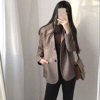 Autumn Winter Women's Wool Blazer Suit Jacket 2018 British style Keep Warm Vintage Work Plaid Blazers Women Coat