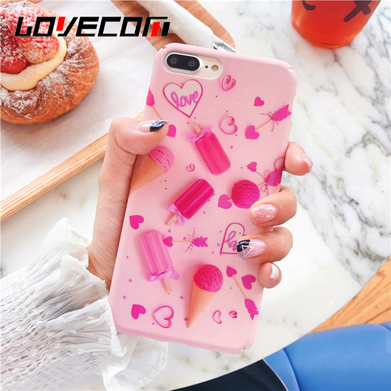 LOVECOM Cute Pink Love Hearts Ice Cream Drawing Phone Case For iPhone 7 7 Plus Hard PC Matte Mobile Phone Back Cover Coque