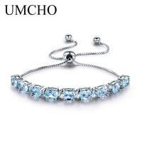UMCHO 9ct Natural Sky Blue Topaz Aquamarine 925 Sterling Silver Chain Link Bracelets For Women Fine Jewelry Adjustable Bracelet