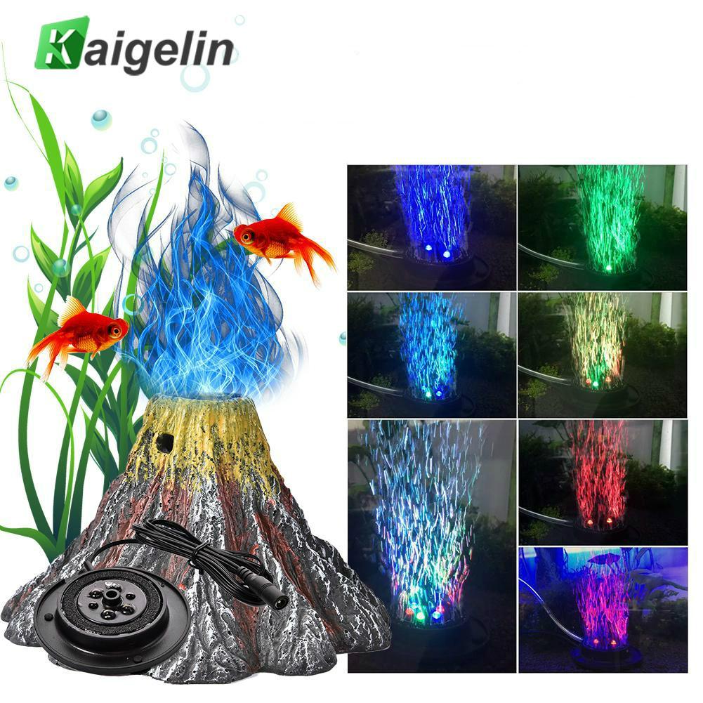 Volcano Shaped Resin Aquarium Ornament Lamp IP68 Waterproof Underwater LED Spotlight Fish Tank Decorative Light