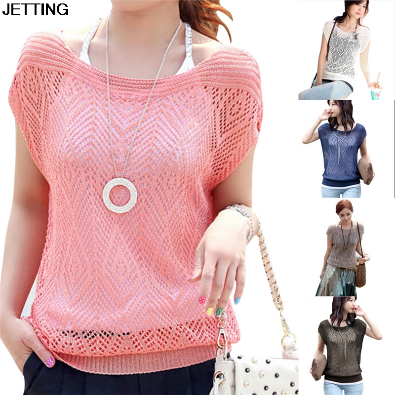 Women Summer Loose Hollow Out Short Batwing Sleeve Knit Tops Tee Shirt Women Blouses
