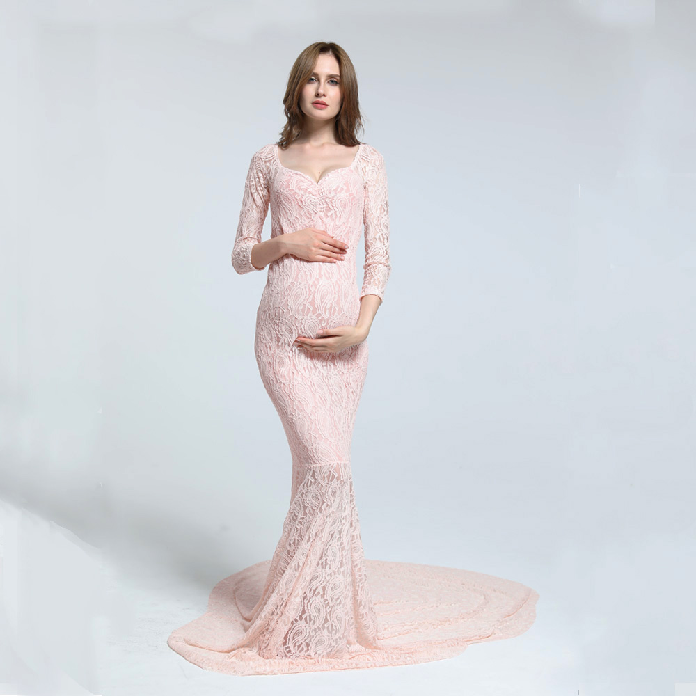Clearance! Size M Stretch Lace Long Sleeve V Neck Fishtail Maternity Dress MATERNITY PHOTOGRAPHY DRESS