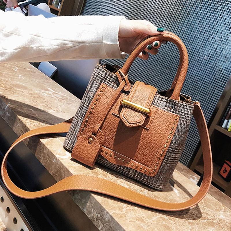 ETAILL Fashion PU Leather Composite Bag Plaid Crossbody Shoulder Bag Wide Strap Bucket Bag Quilted Woolen Top Handle Handbags
