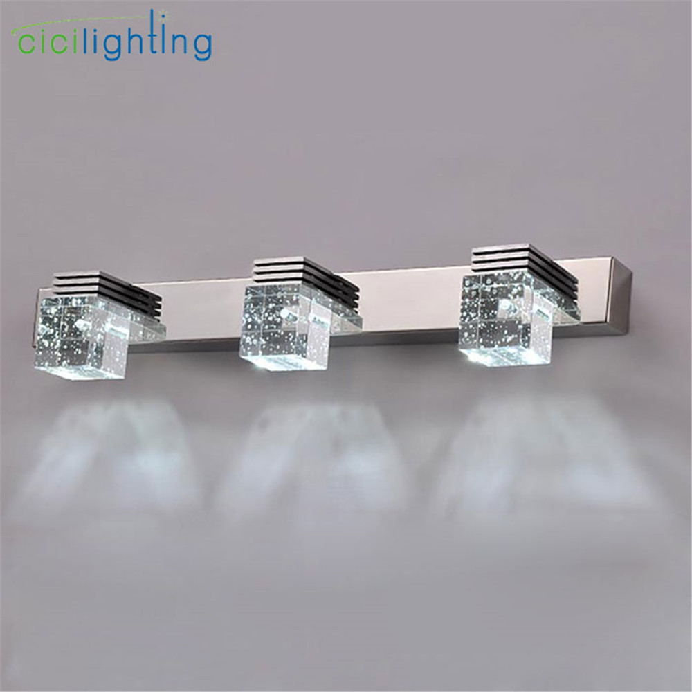 100-240V 9W 45cm LED crystal mirror lights clear Crystal rain drop bathroom vanity lights makeup vanity led wall sconces