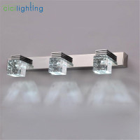 100 240V 9W 45cm LED crystal mirror lights clear Crystal rain drop bathroom vanity lights makeup vanity led wall sconces