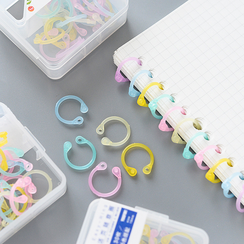 1 Box Creative Transparent Colorful Plastic Circle Ring Clips Albums Loose-Leaf Book Binder Hoops Kids Office Binding Supplies