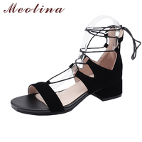 Meotina Summer Shoes Sandals Women Thick Med Heels Cross Strap Zipper Shoes Black Ladies Casual Shoes