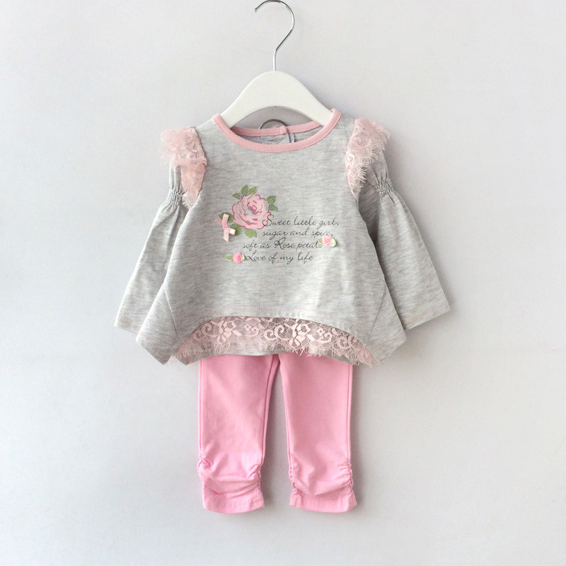 2pcs Baby Girl Long Sleeve Clothing Sets Flower T Shirt+Pants Trousers Bebe Cotton Clothes Suit Infant Toddler Spring Outfits free shipping children clothing spring girl three dimensional embroidery 100% cotton suit long sleeve t shirt pants