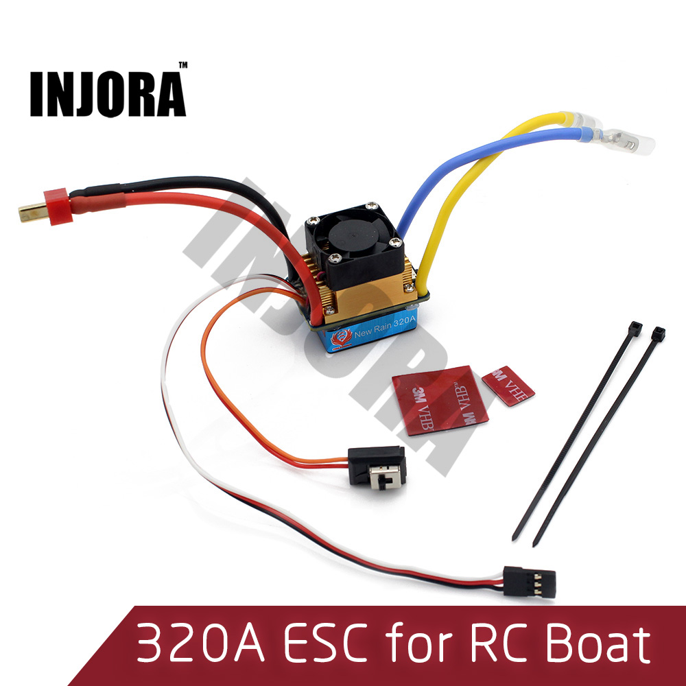 INJORA RC Boat 320A Waterproof Brushed ESC Speed Controller with 5V/2A BEC for RC Boat Parts rc boat clutch