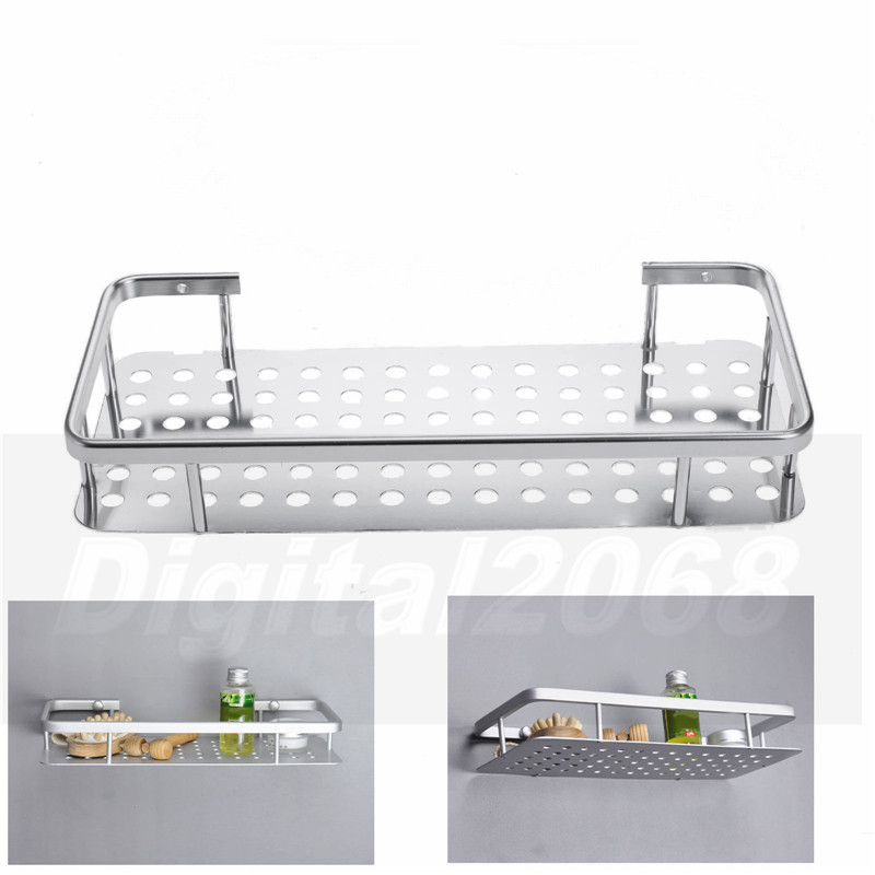 New Modern Rectangle Bathroom Shelf Umiwe Wall Mouted 1 Tier Floating Bath Shelves Aluminium Rack Silver 31*14*5CM Free Shipping umiwe tm stainless steel cuticle nipper double springhalf silver with umiwe accessory