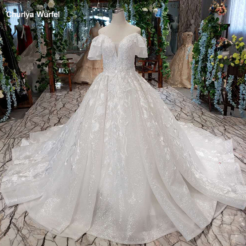 LS014478G Shiny Wedding Dresses With Glitter Sweetheart Off Shoulder Lace Up V-back Wedding Gown Factory Robe De Mariee 2019