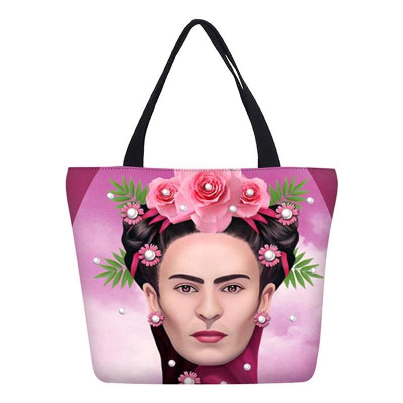 Hynes Adler Marke Design Frida Kahlo Drucke Handtaschen Für Frauen Casual Schulter Taschen Klapp Große Kapazität Leinwand Einkaufstasche