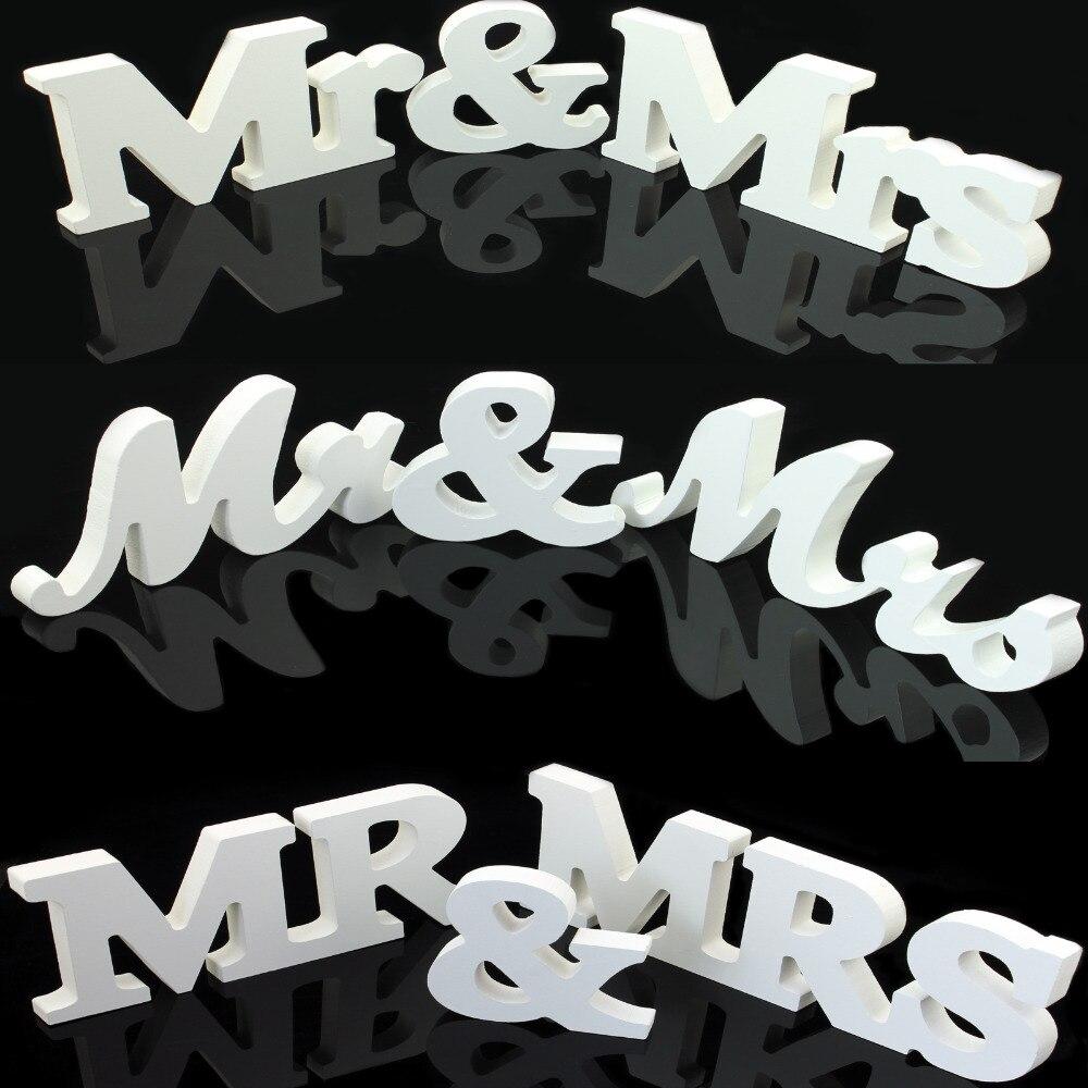 1 set solid mr mrs wooden letters for wedding decoration for Decoration 11 letters