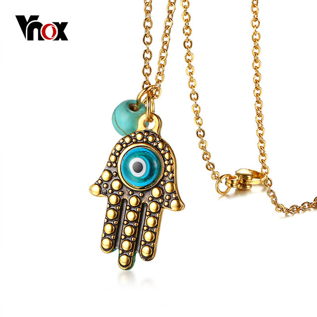 stainless stone with steel pendant female necklace jewellry vnox hamsa for hand color gold eye necklaces women from chain shape charm item in