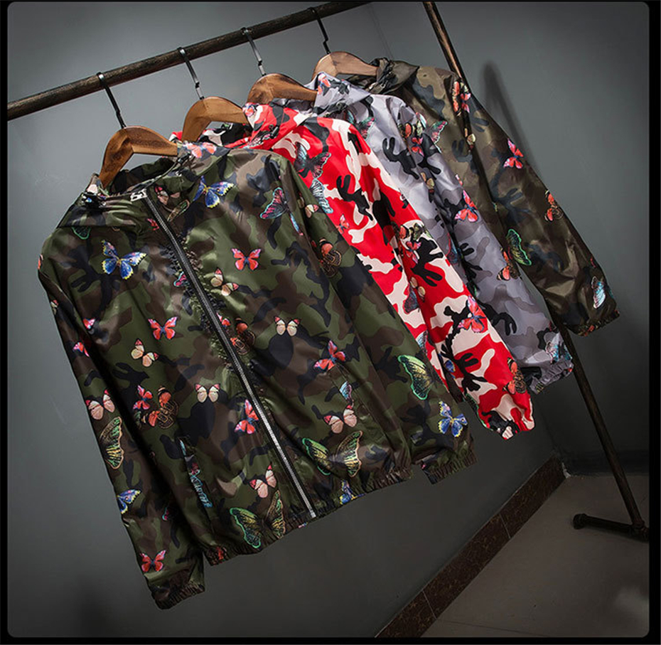 HTB1JunedjfguuRjSszcq6zb7FXaf Mens Casual Camouflage Hoodie Jacket 2018 New Autumn Butterfly Print Clothes Men's Hooded Windbreaker Coat Male Outwear WS505
