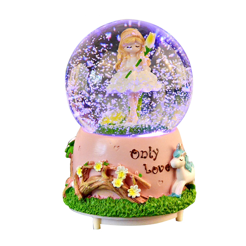 Romantic Crystal Ball Music Box <font><b>Snowball</b></font> With Light Music Automatic External Rotation Snow Globe Crafts Couple Gifts Home Decor image