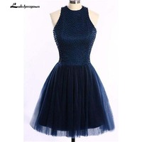 Темно синие O сзади Короткие вечерние платья по колено Бисер High Low плюс Размеры для девочек вечерние платье
