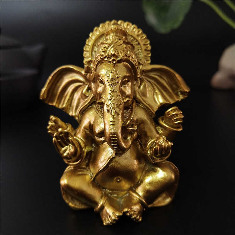 Gold Ganesha Buddha Statue Indian Elephant God Sculptures Resin Ganesh Figurines Ornaments Home Garden Decoration Buddha Statues