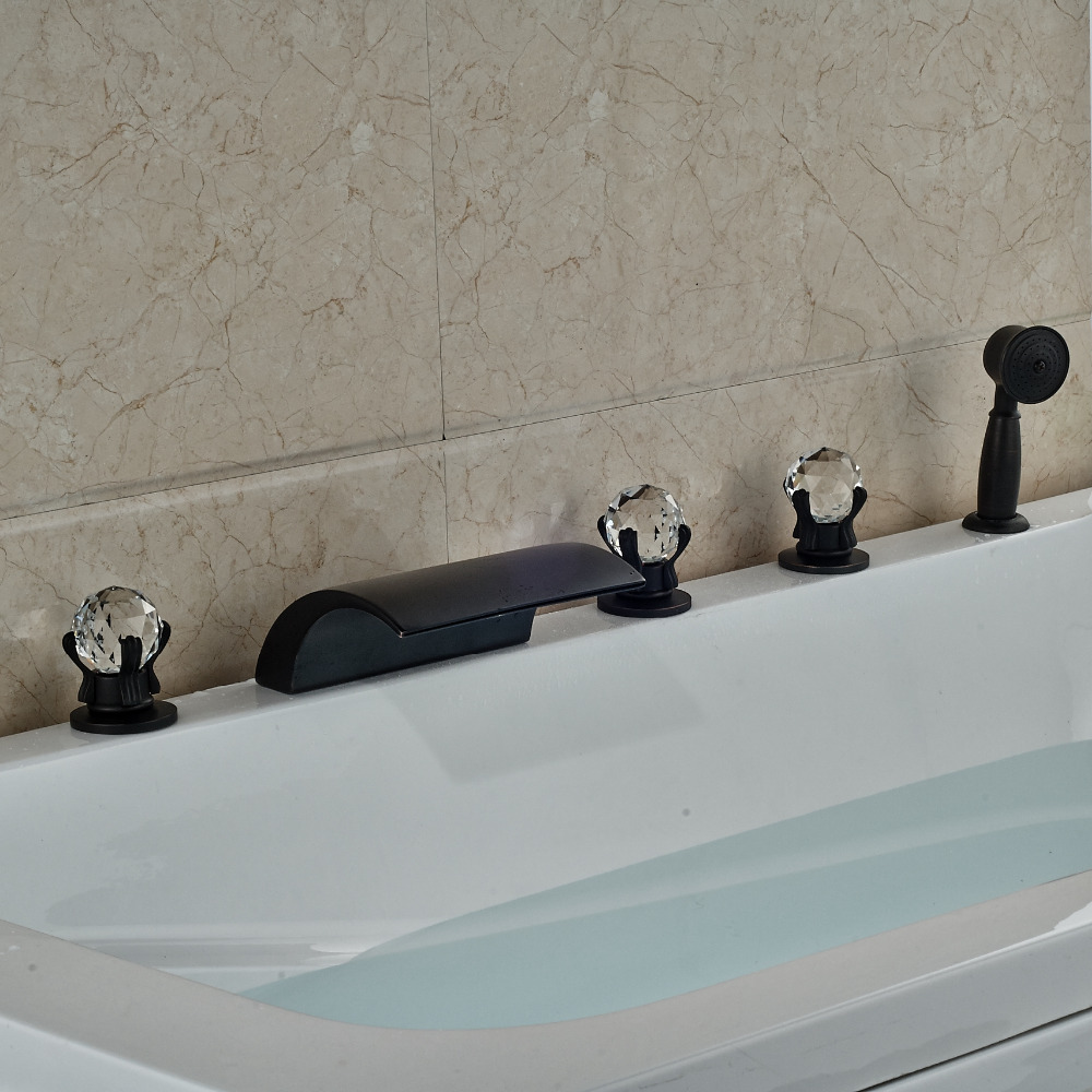 Widespread Oil Rubbed Bronze Waterfall Bathroom Tub Faucet W/ Hand Shower Mixer Tap Crystal Handle