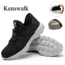 Kenswalk New breathable mesh steel toe safety shoes men's summer Light weight anti-smashing work boots sneakers(38-45)