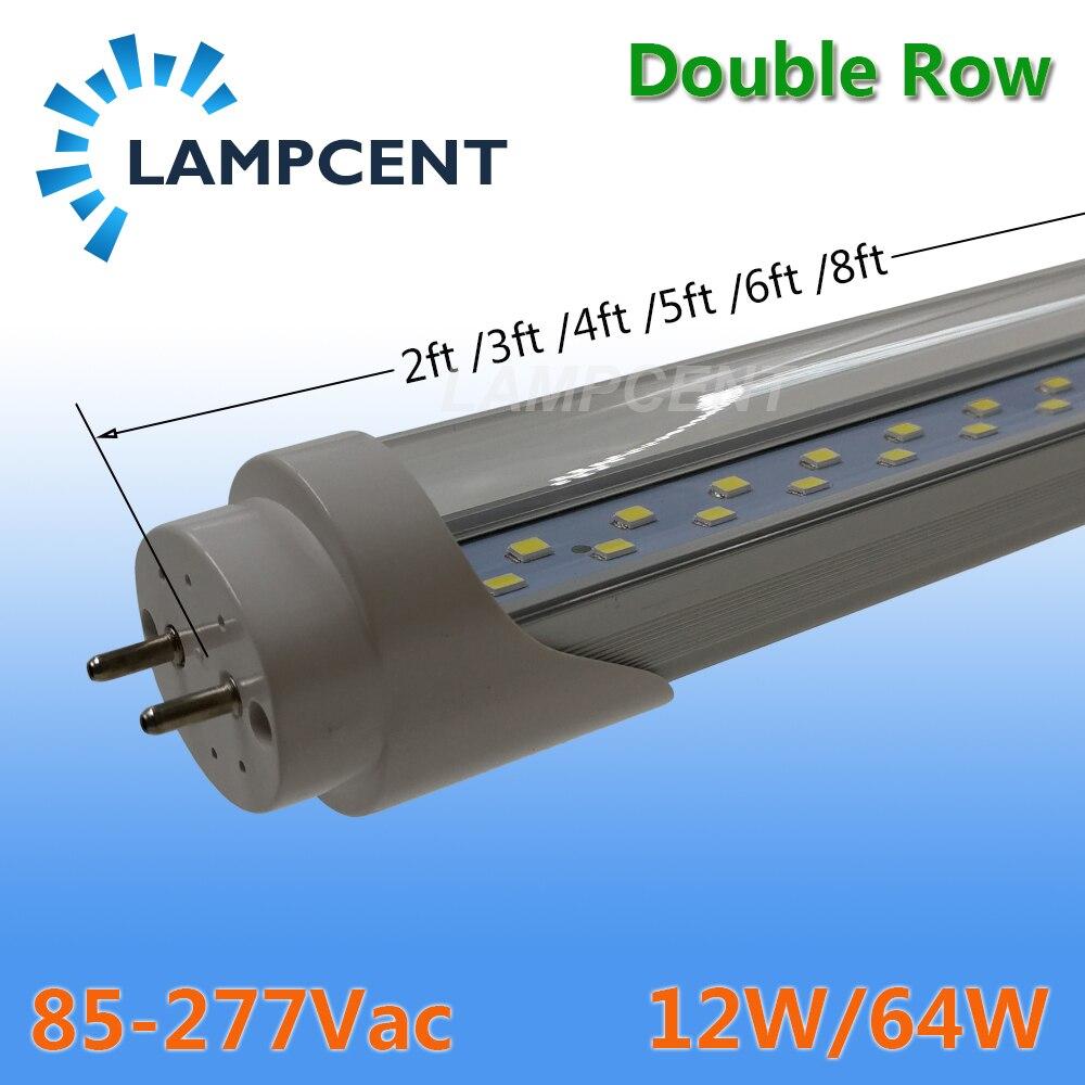 T8 LED Tube ampoule 2ft 3ft 4ft 5ft 6ft Double rangée G13 bi-pin lampe LED lumières de magasin 15/20/25/30 Pack