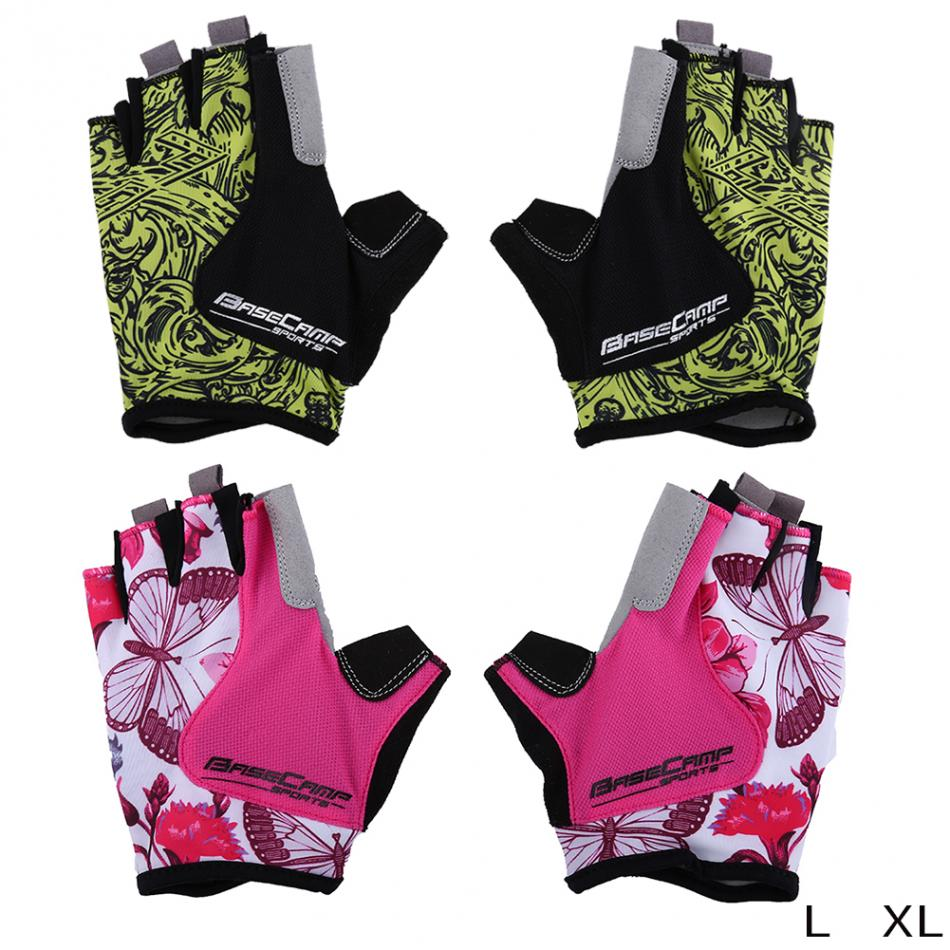 Ladies leather cycling gloves - Basecamp Men Women Cycling Gloves Half Finger Gel Breathable Mtb Bike Shockproof Bicycle Gloves Summer Cycling