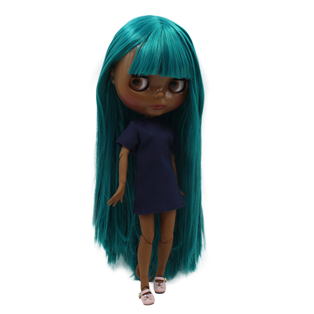blyth doll super black skin tone darkest skin black New green wild straight hair joint body