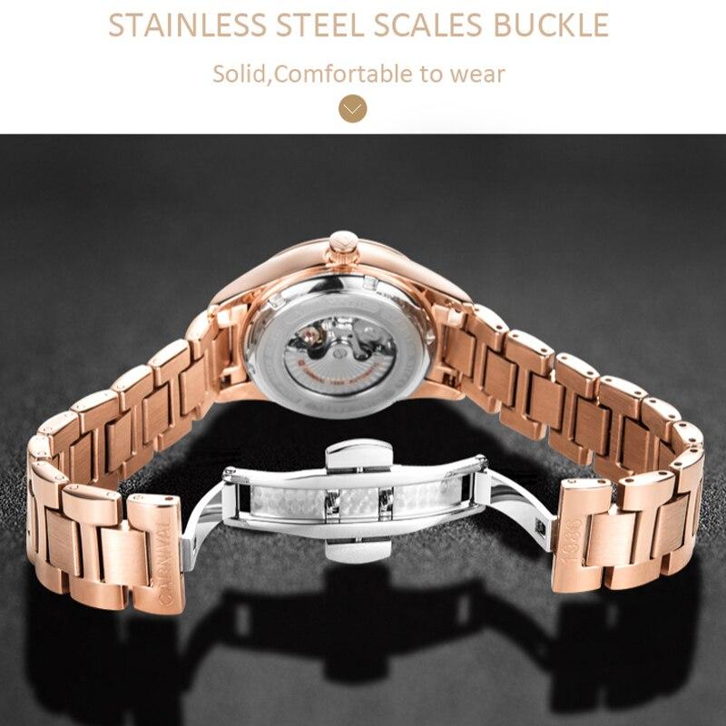 Femmes automatique mécanique montre dames de luxe saphir bleu cadran fille robe entreprise horloge de mode marques Auto Date Relogio - 4