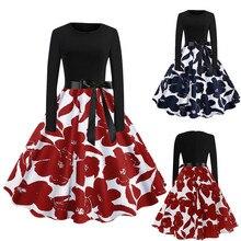 e4e1e39a4e65 Women Plus Size Long Sleeve Christmas Cats Musical Notes Print Vintage Flare  Dresses Vestido Daily,