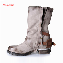 Stylesowner Do Old Leather Martin Boots Belt Buck Short Boots Motocycel Riding Female Flat Boots High Quality Retro Footwear