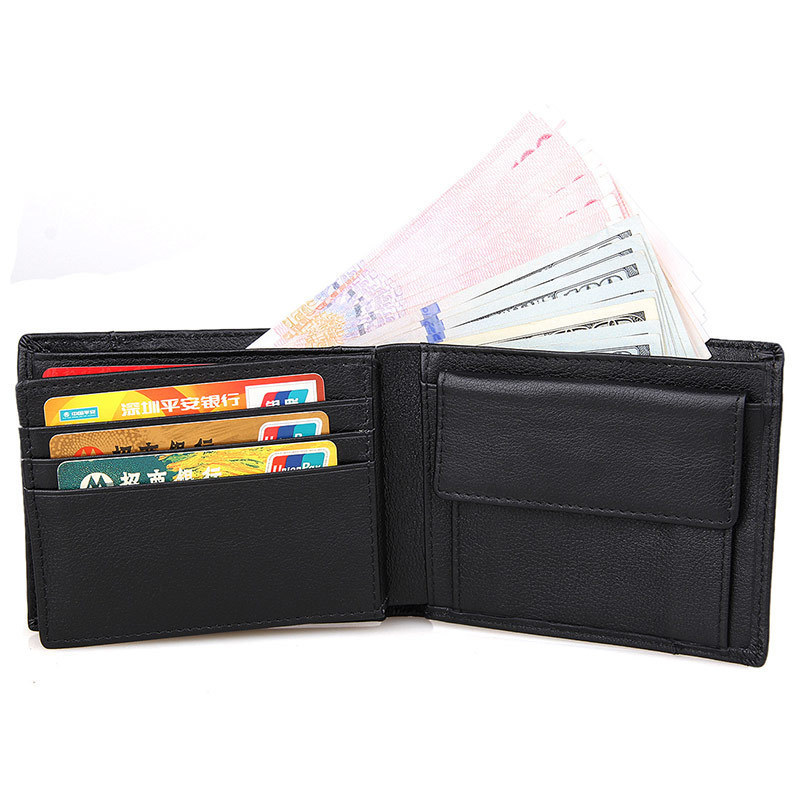 Italian Style Men Purse Short Black Horizontal Genuine Leather Wallet Man Card Holder Purse With Coin Pocket 264-48