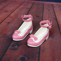N01 X045 children handmade toy 1/3 1/4 Doll Accessories BJD/SD doll pink buckle bow princess shoes 1pair