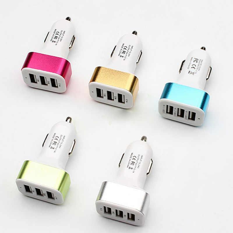 الثلاثي العالمي USB شاحن سيارة 3 منافذ سيارة مهايئ شاحن المقبس ولاعة السجائر ل GPS الهواتف المحمولة MP3 اكسسوارات السيارات