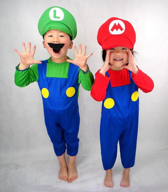 2 Estilos de Color Rojo Verde Niños SuperMary Disfraces Para Niños Increíble Super Mario Luigi Brothers Plumber Cosplay Ropa