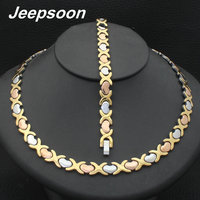 Wholesale Newest Fashion Stainless Steel Metal Silver And Gold Color 9MM Heart Necklace And Bracelet Jewelry