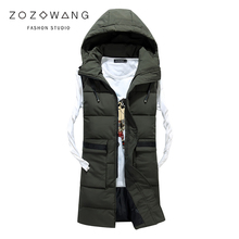 new autumn and winter men down cotton Sleeveless vest Male Hooded Thick Warm Waistcoat Men Chaleco con capucha de los hombres