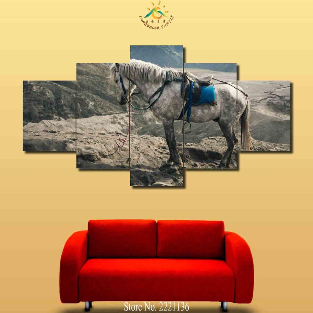 3 4 5 Pieces White War Horse Modern Wall Art Canvas Printed Painting ...