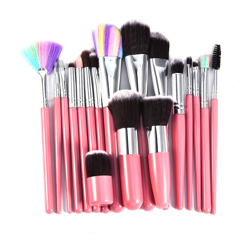 18pcs Beauty Hair Makeup Brushes Kits Eyeliner Eyeshadow Blending Brush Loose Powder Blusher Contour Brush Cleaner Face Make Up 6pcs purple pink hair makeup brushes professional flat eyelashes eyeshadow brush cleaner eye make up eyeliner blusher face brush