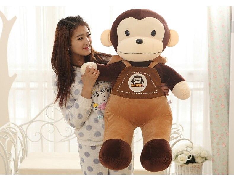 Énorme 90 cm beau singe en peluche porte-jarretelles pantalon singe poupée jeter oreiller cadeau d'anniversaire w6403