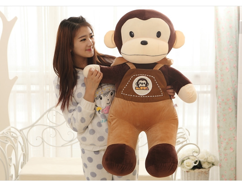huge 90cm lovely monkey plush toy suspender trousers monkey doll throw pillow  birthday gift w6403 the huge lovely hippo toy plush doll cartoon hippo doll gift toy about 160cm pink