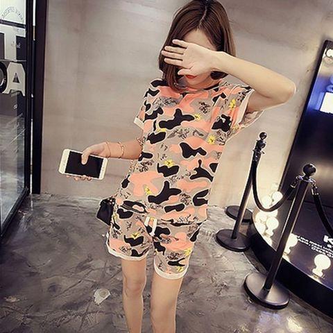 Women Camo Print Tshirt + Shorts Sleep Wear O-neck crimping Sleeve Home Nightgowns Girl Pajama Sets 2pcs Sleep & Lounge Karachi