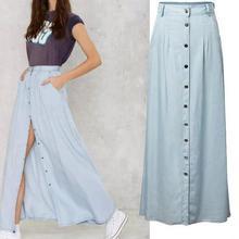 Длинные юбки в пол для женщин, однобортная джинсовая юбка с завышенной талией, Faldas Largas Elegantes