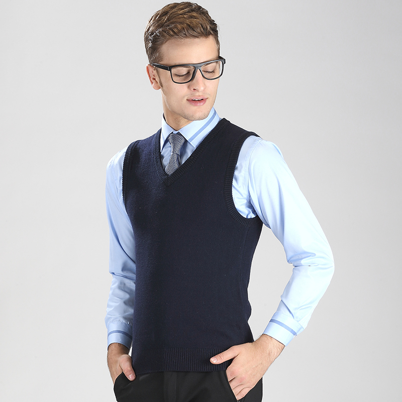 Autumn And Winter Solid Color Fashion V-neck Casual Men Knit Cashmere Sweater Vest