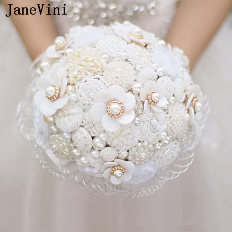 JaneVini Luxury Jewelry White Flower Wedding Bouquet Crystal Beaded Bridal Bouquets Pearls Silk Wedding Flowers Bruiloft Boeket